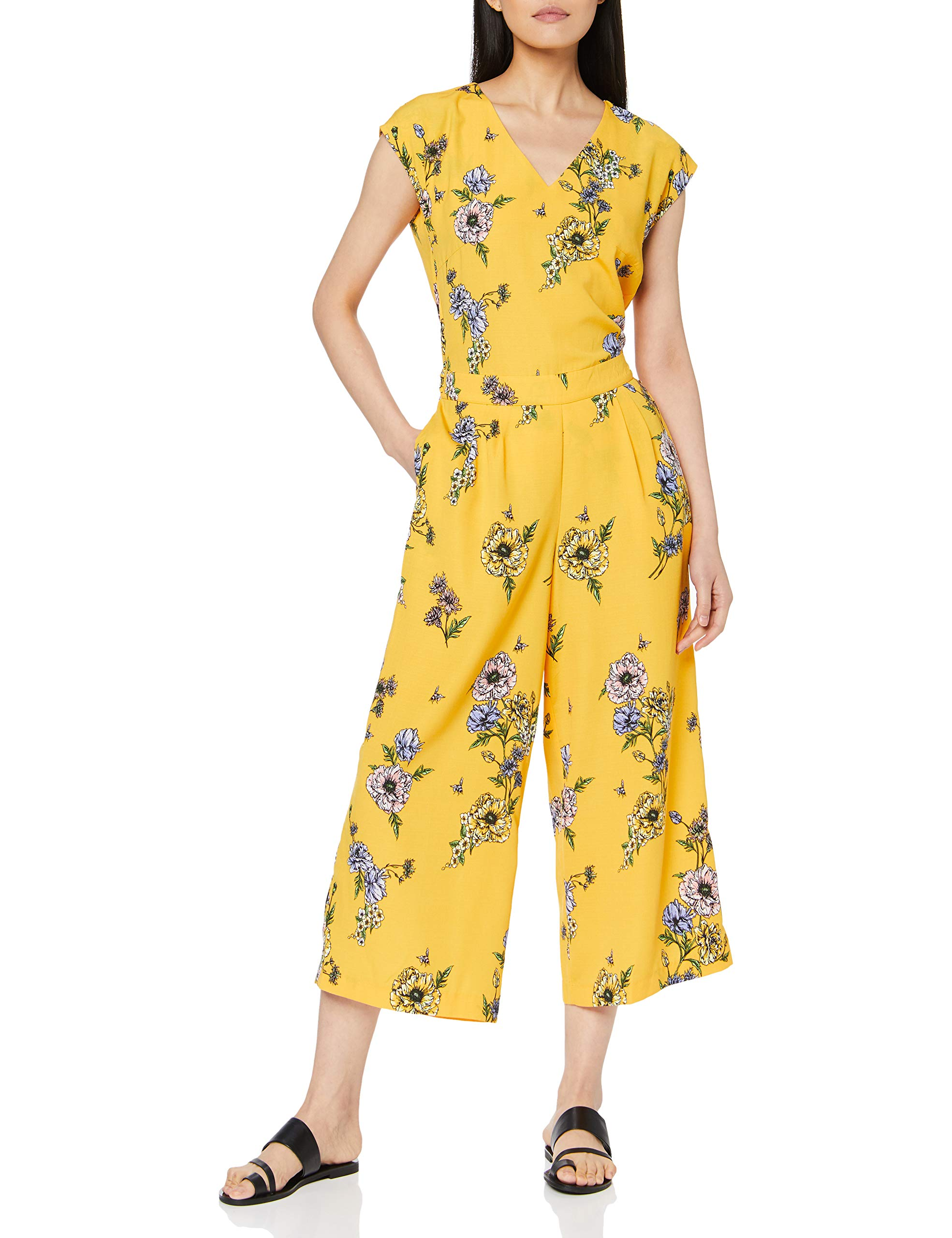 Tom Overa Femme Wrap Flower Print Tailor Culotte 17561S CombinaisonJauneyellow Denim E9YHDI2W