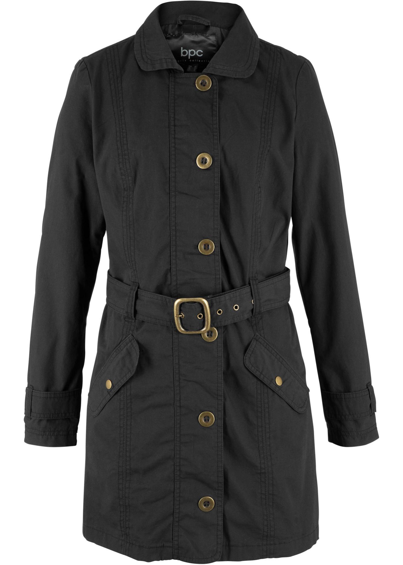 Femme Bonprix coat Noir Manches Pour Bpc Longues CollectionTrench TlcKJ1F
