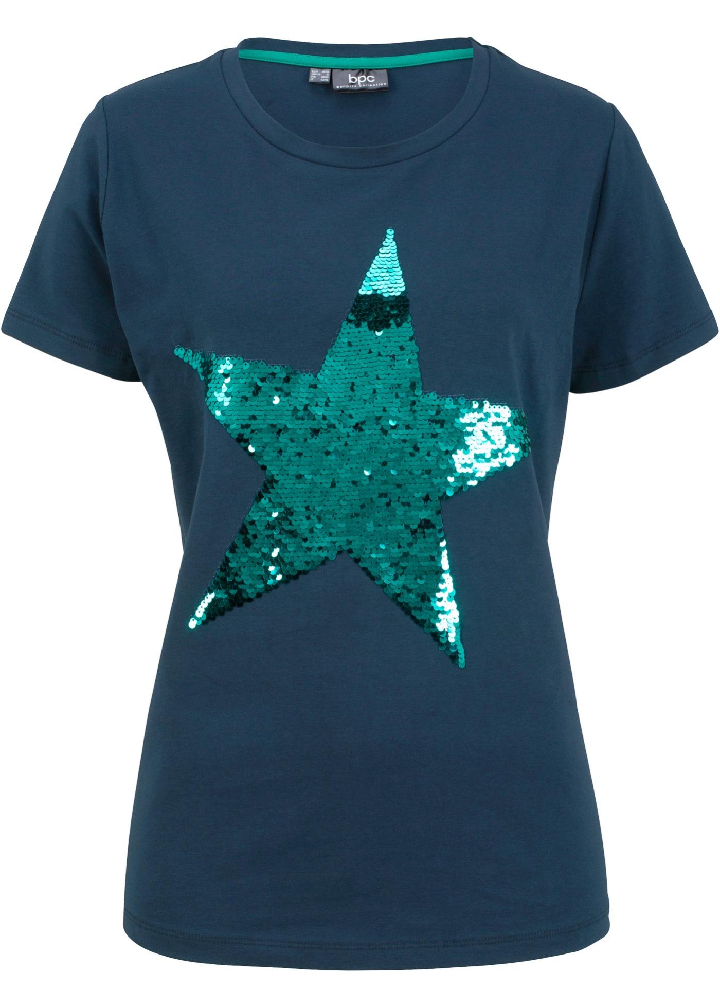Bonprix shirt Pour Femme Paillettes Bpc Courtes À Bleu Manches CollectionT rdCWBoexQ