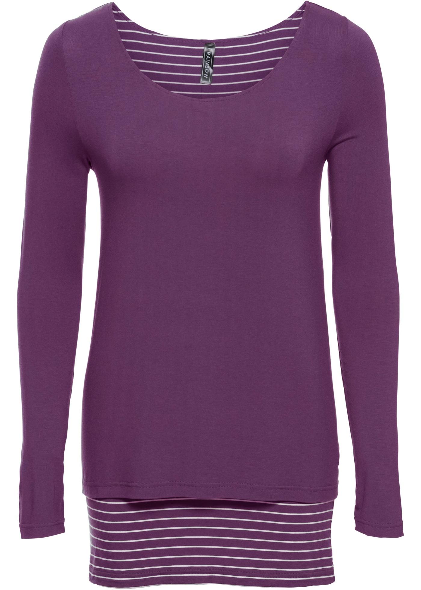 BonprixT Épaisseur Longues shirt Manches Femme Pour Violet Rainbow Double wm0N8vn