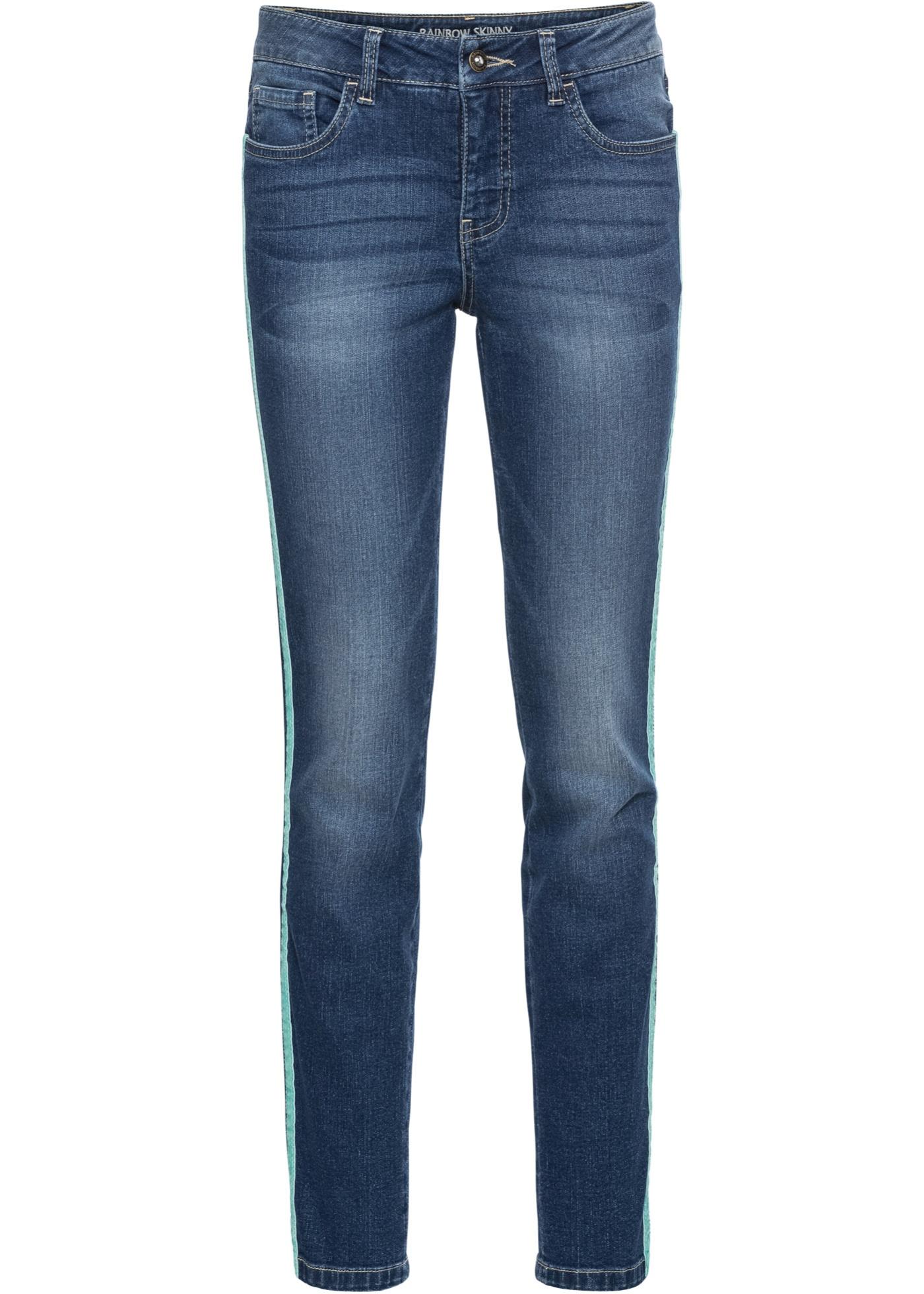 Bande Contrastante BonprixJean Pour Skinny Raccourci Avec Femme Rainbow Bleu wkX8P0nO
