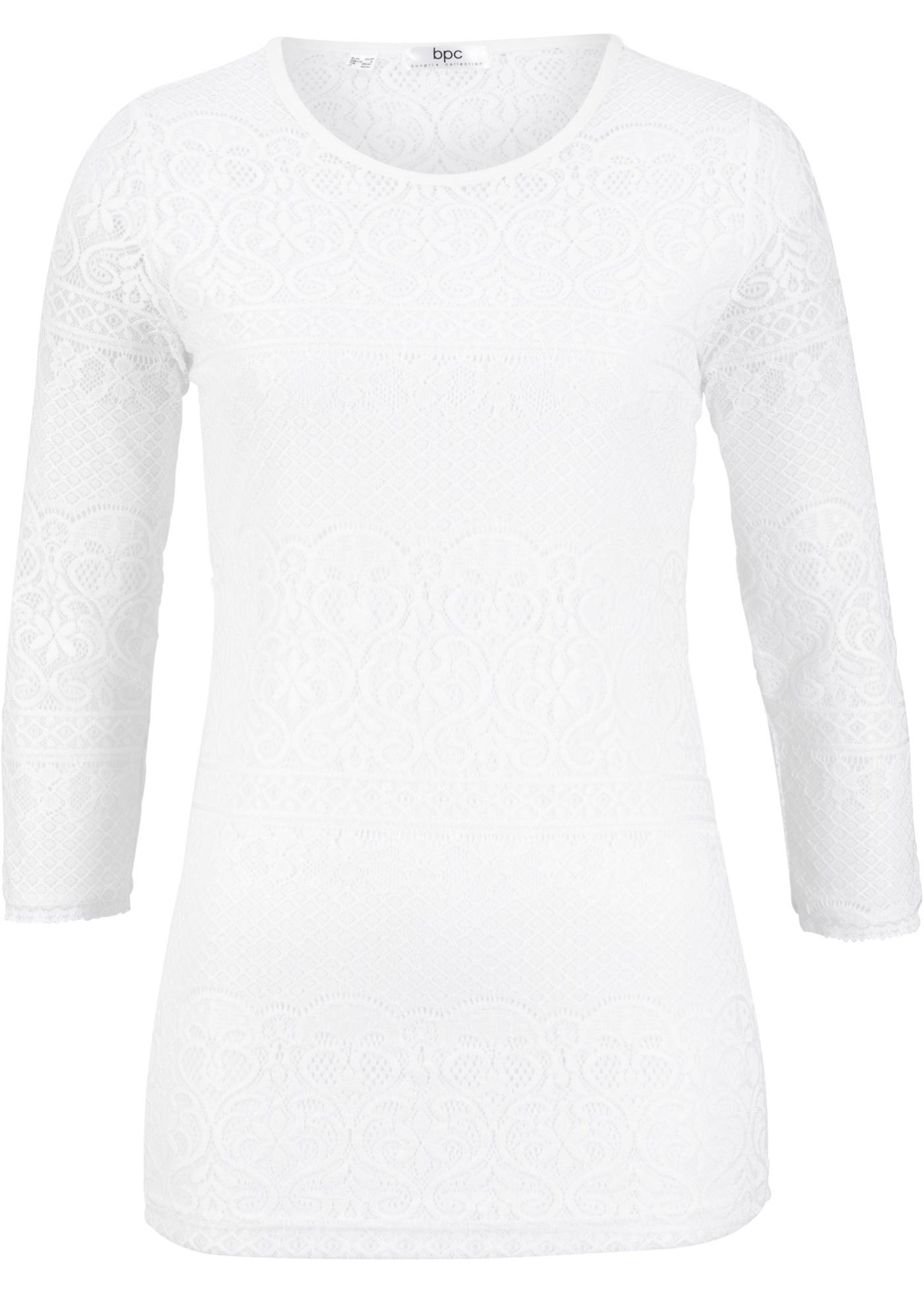Dentelle Manches shirt Blanc Bonprix Pour 3 CollectionT Femme 4 Bpc En POkZuTwXi