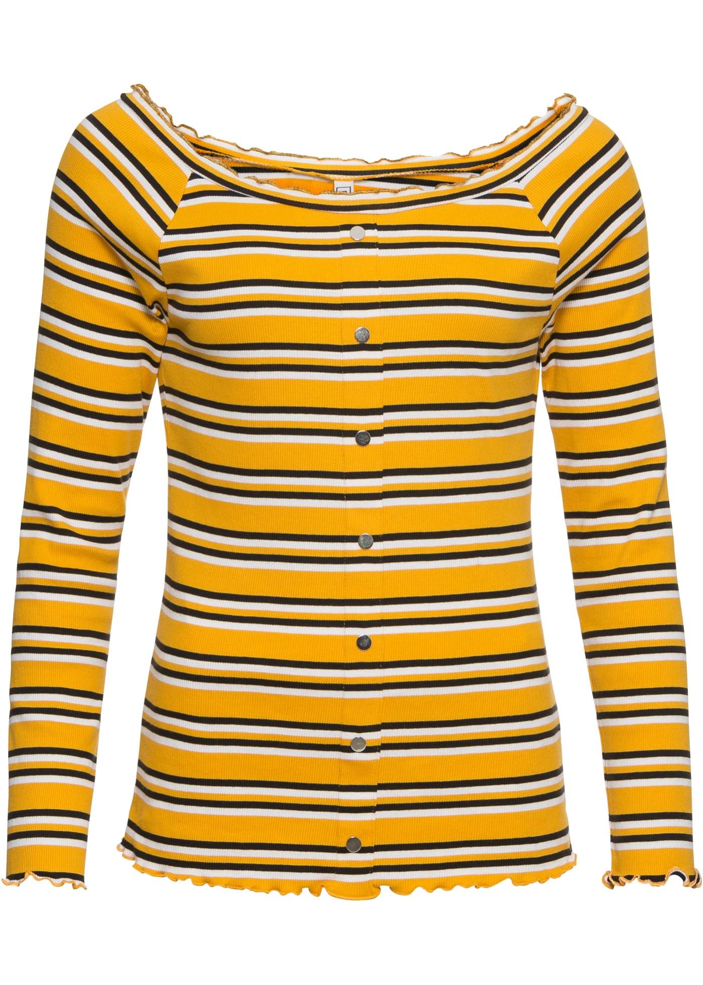 BonprixT Pour À Manches Rayures Rainbow Jaune shirt Longues Femme cj3AR5L4q
