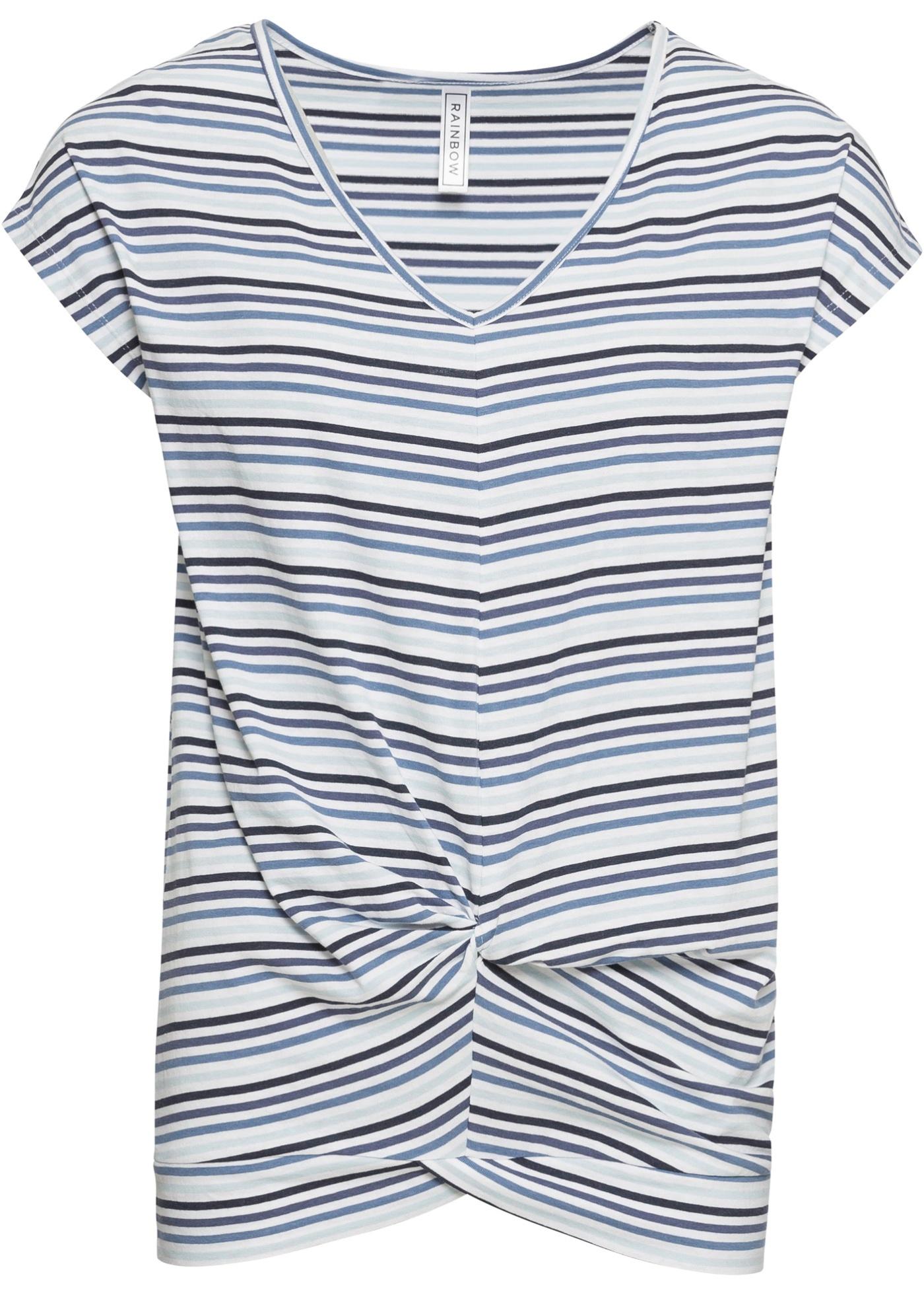 Courtes Pour Rayé Détail Manches Rainbow shirt Femme Avec Nœud BonprixT Bleu XnOP8w0k