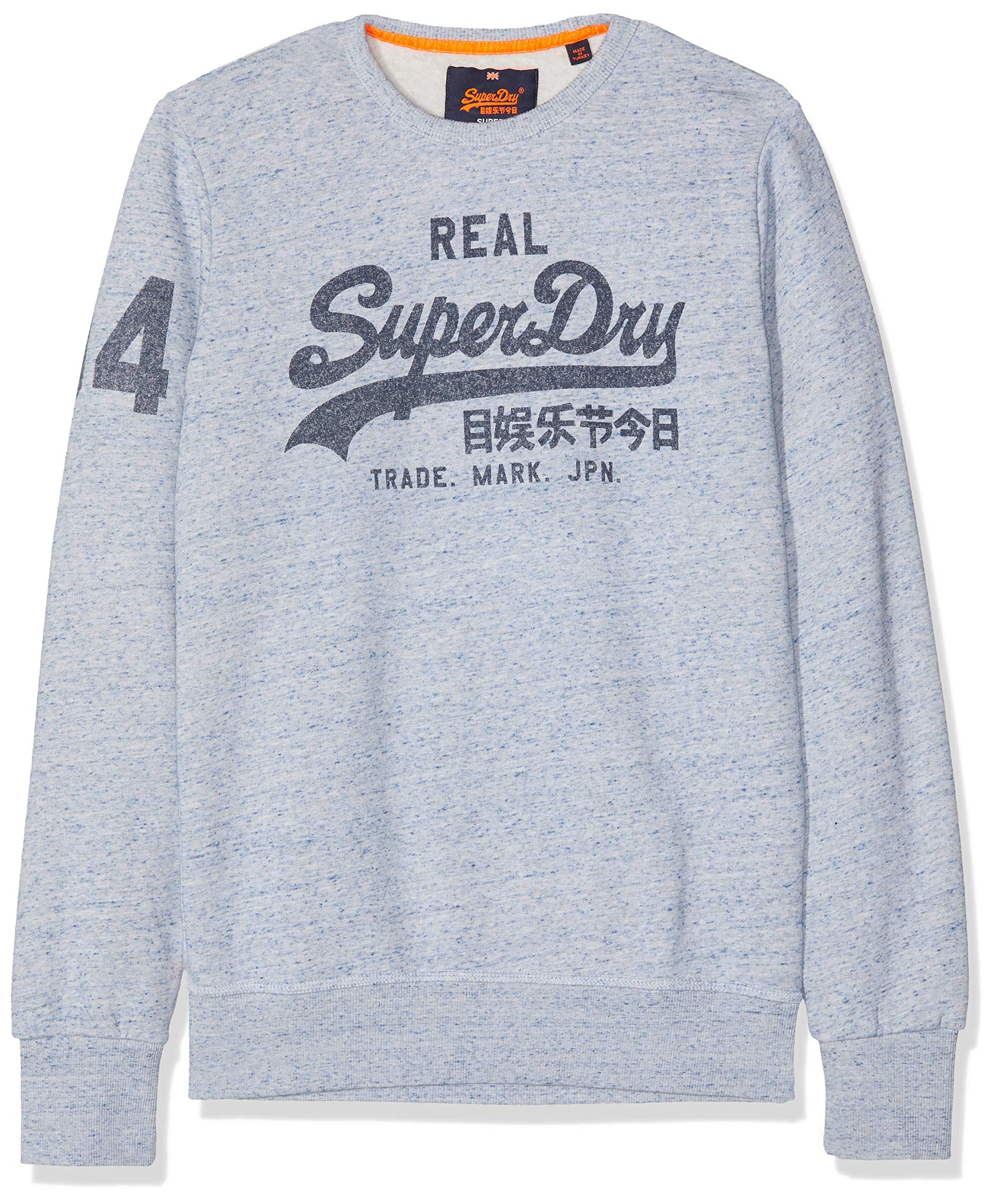 Superdry CrewSweatshit Capuche Vintage À Logo E GritLarge Sportswear HommeGrisstorm m80vNwyOn