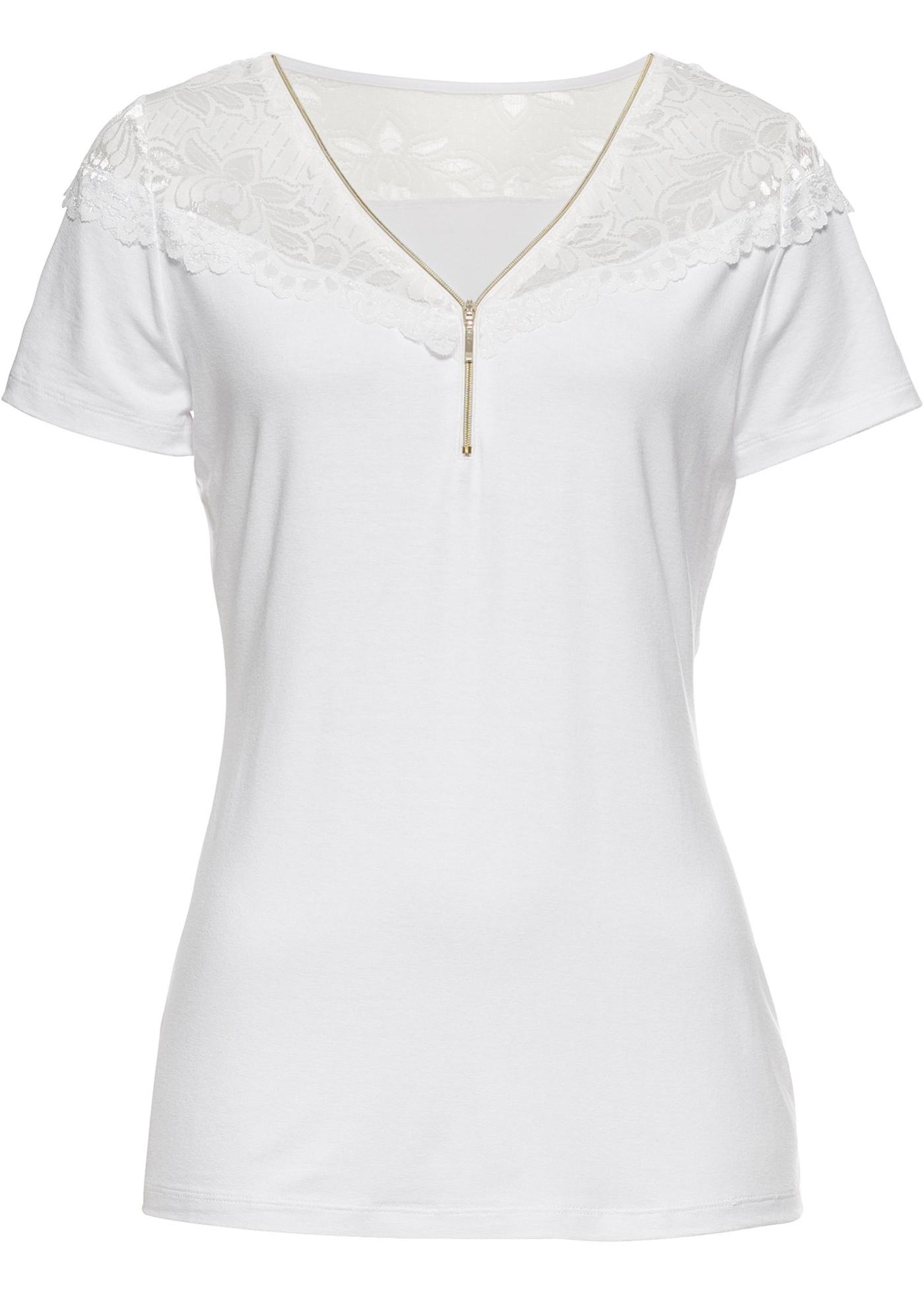 À Blanc Bodyflirt BonprixT Femme Dentelle Zip Et Manches Courtes Pour shirt zqUGSMVp