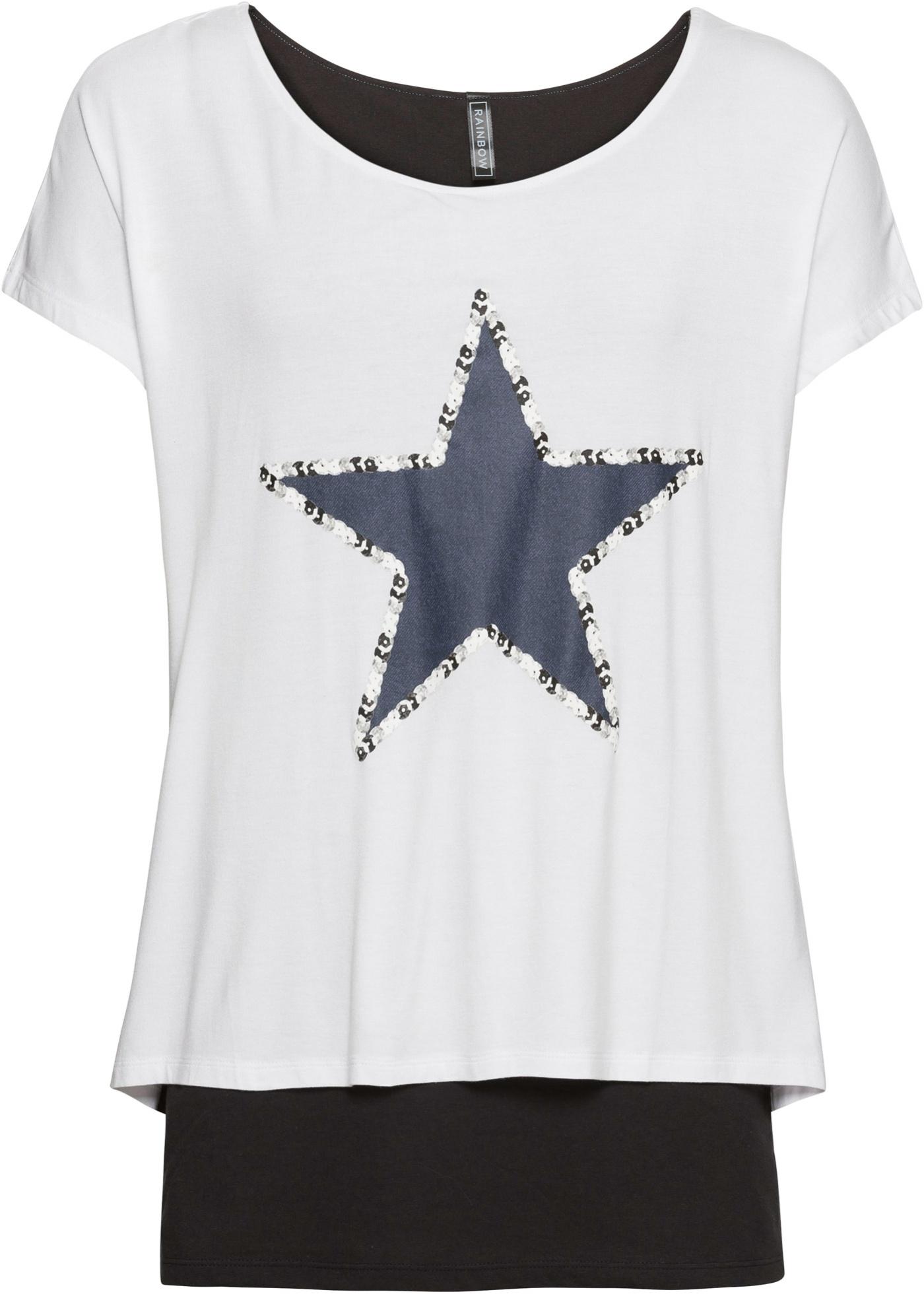 Rainbow Courtes shirt Étoile 2 Manches En 1 Blanc Avec Femme BonprixT Pour DIH2EeWb9Y