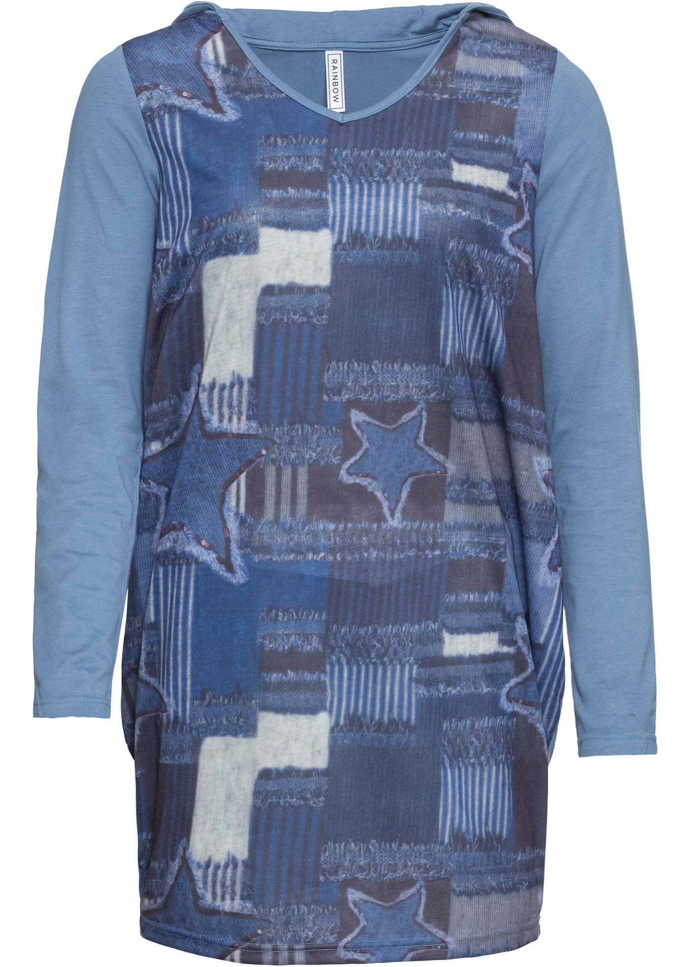 Imprimé Étoiles Manches Femme Et En Jersey BonprixRobe Bleu Pour D'été Avec Longues Capuche Rainbow OuwikZlPXT