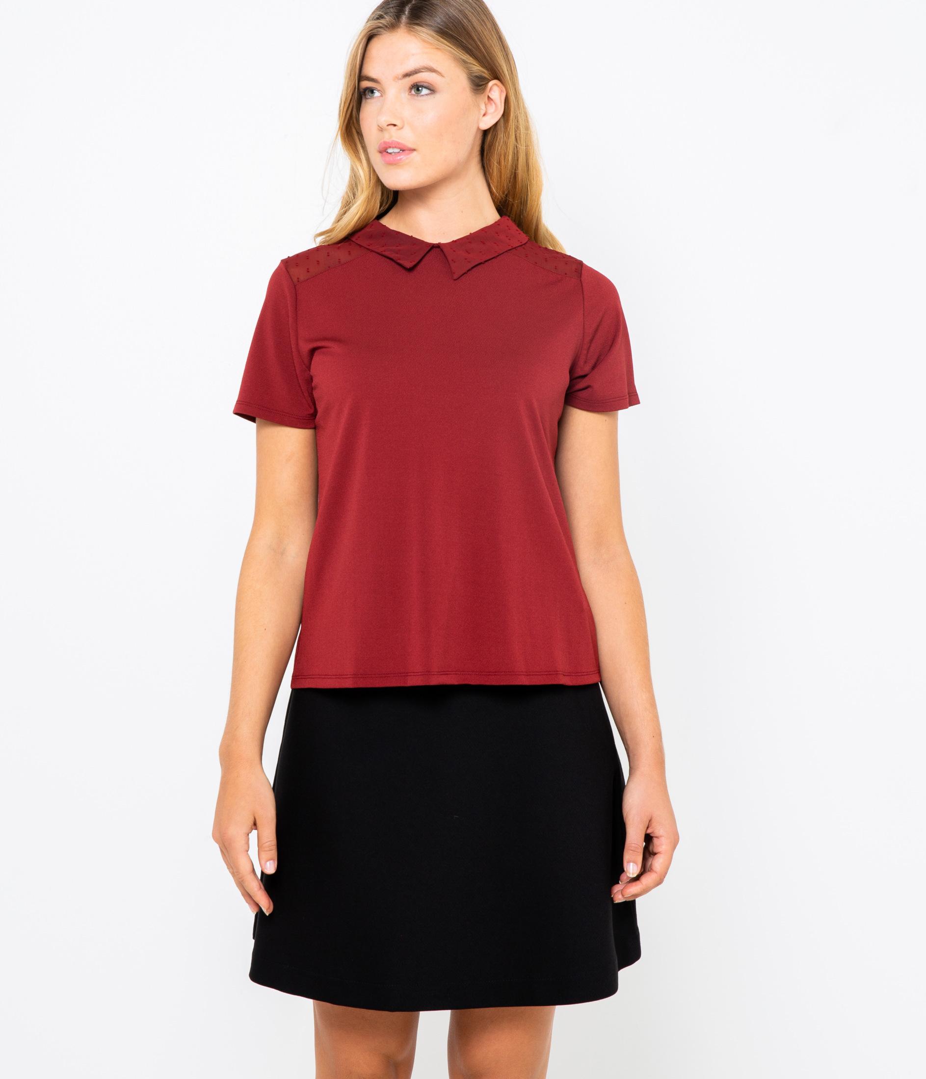 shirt Col Femme Camaïeu T Chemise xBordCe