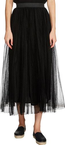Jupe longue plissée en plumetis Noir Maje
