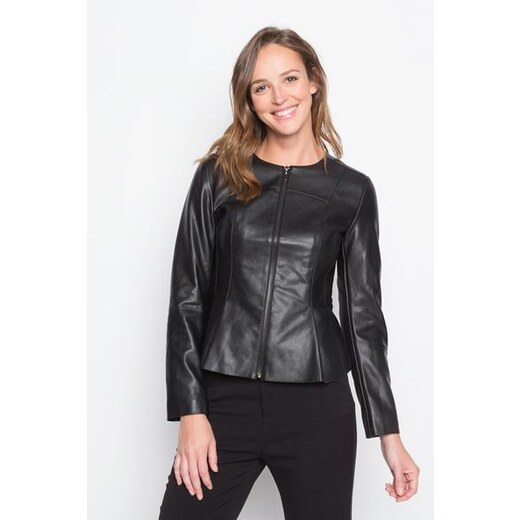 Polyurethanne Similicuir Noir 1 Femme Veste Basque À Taille Unie 7bfgy6