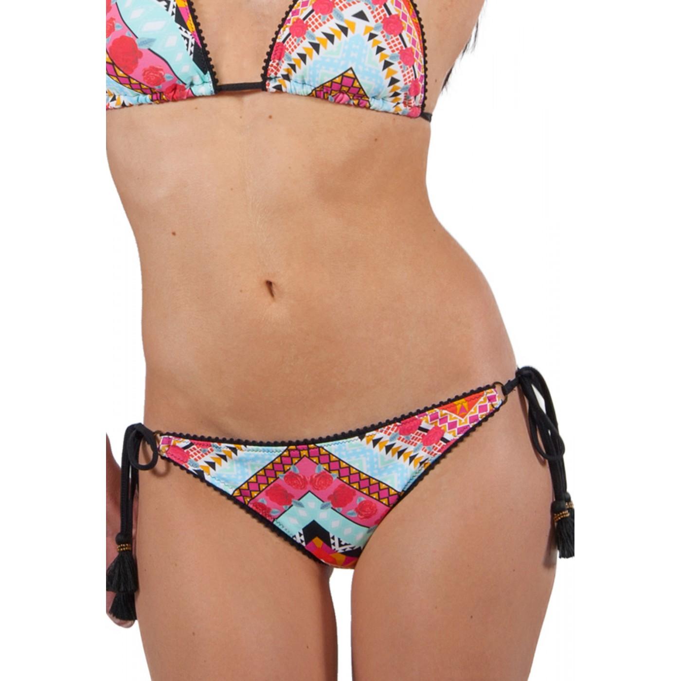 Azteque Noirs Pompons Et Petits Azteca Bikini À Milonga Motif Multicolore dsQtrh