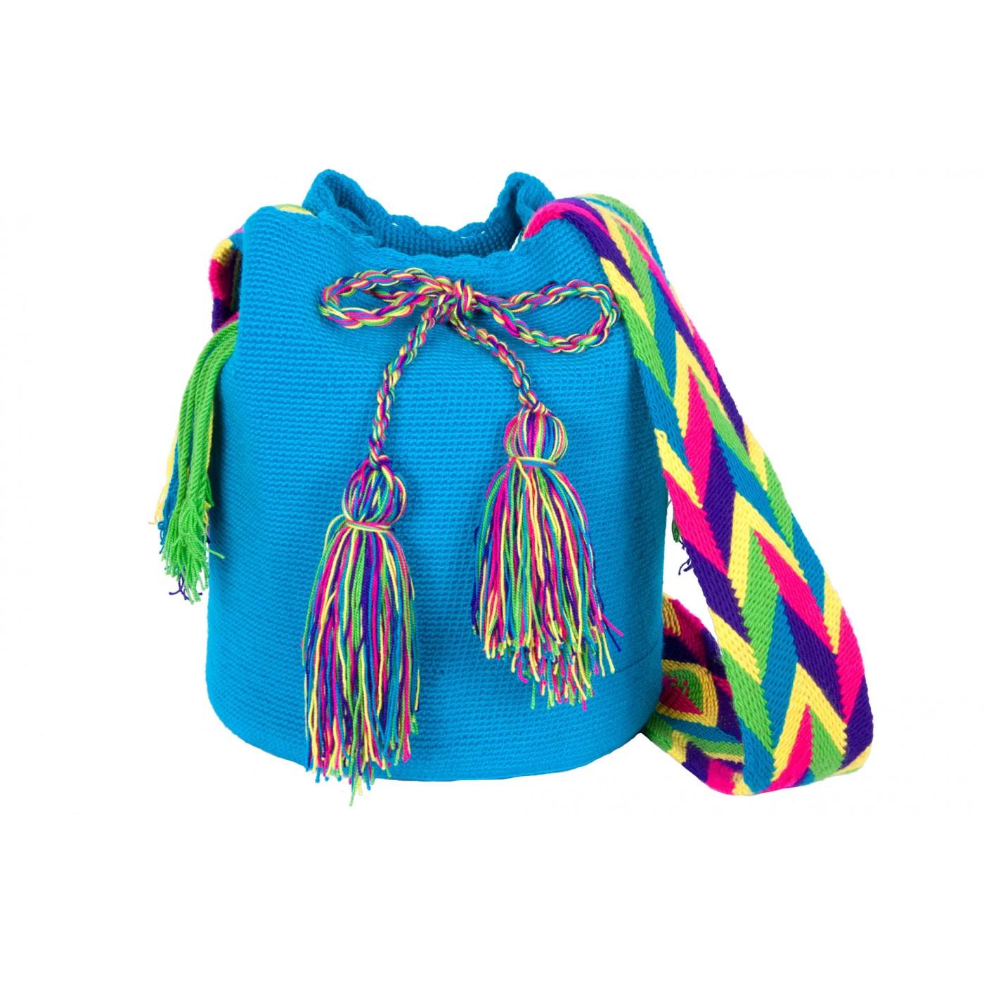 Colombien Mochila Artisanal Wayuu Bleu Sac Xwk8n0OP