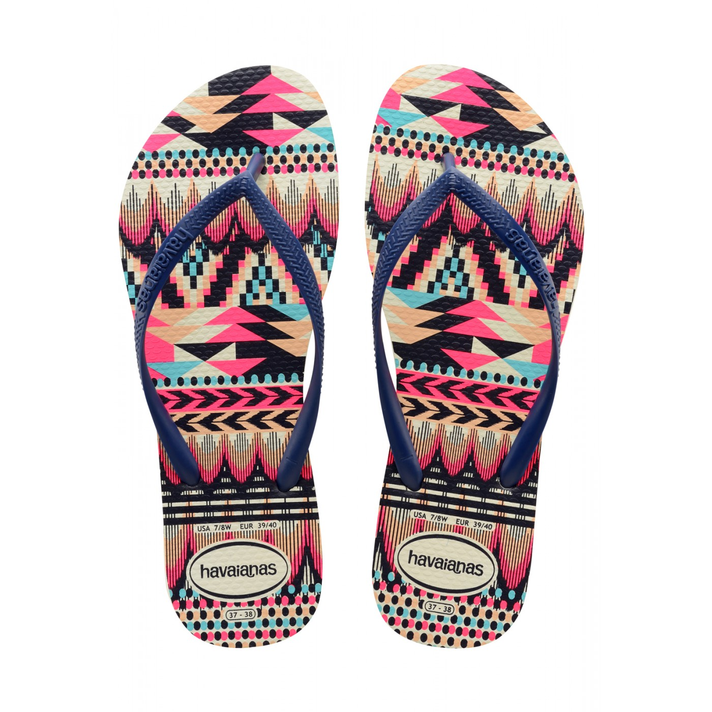 White Blue Tribal Tong Slim navy Havaianas uwkZOPXiT