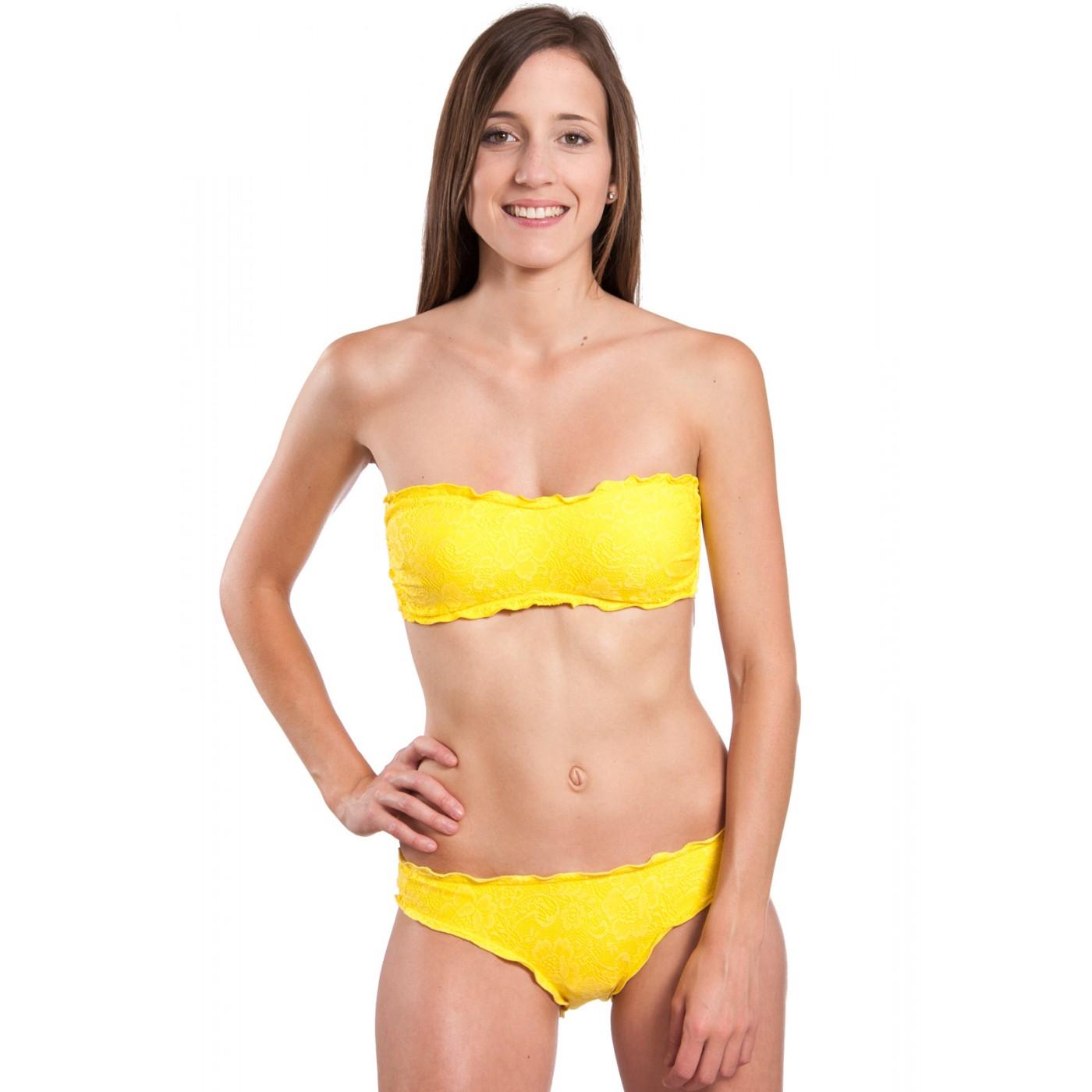Et Bain 2 Beachwear Jaune Dentelle Solymar Maillot Bandeau Pièces De KJTFcl1
