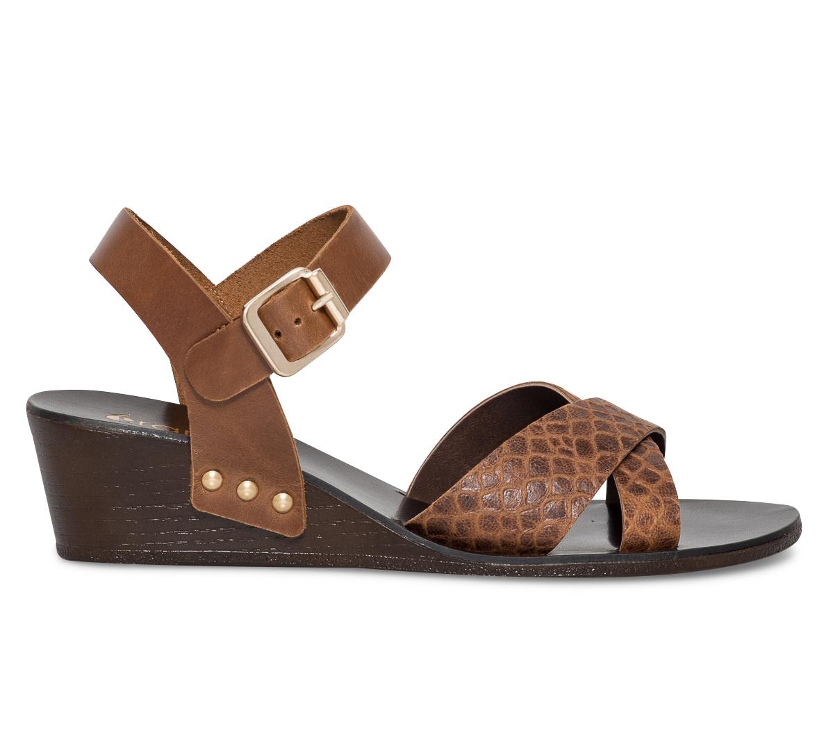 Sandale Cuir Eram Compensée Camel VSzUMp