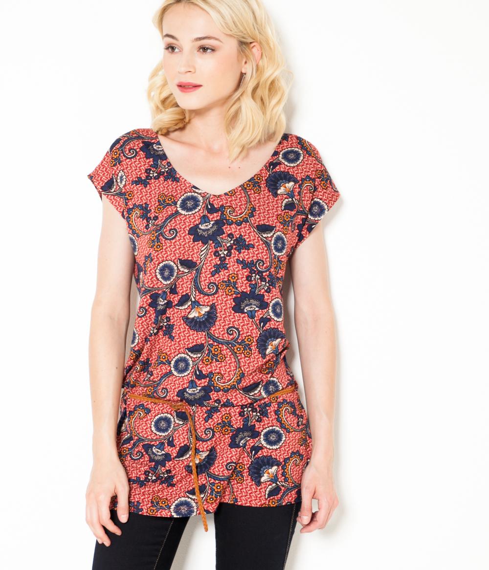 Fleuri Femme shirt Camaïeu T Motif n80wOvmyN