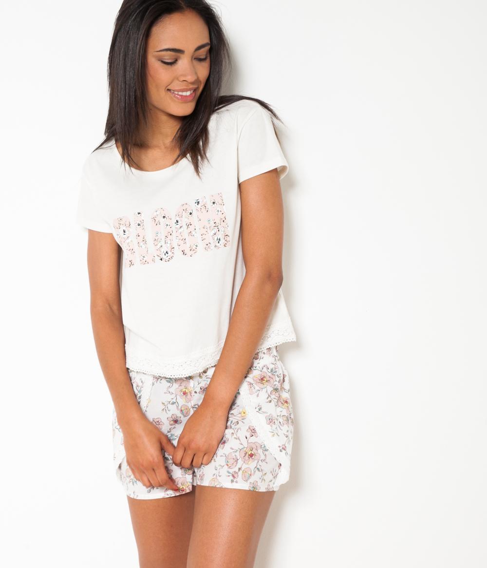 shirt T Cropped Femme Nuit Camaïeu De l5uF1JcTK3