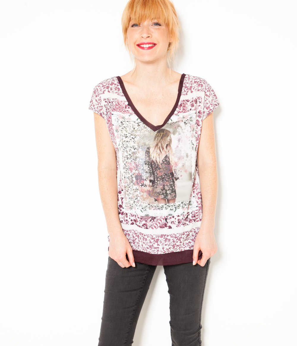 Femme Floral Camaïeu T shirt Imprimé QrdtshCx
