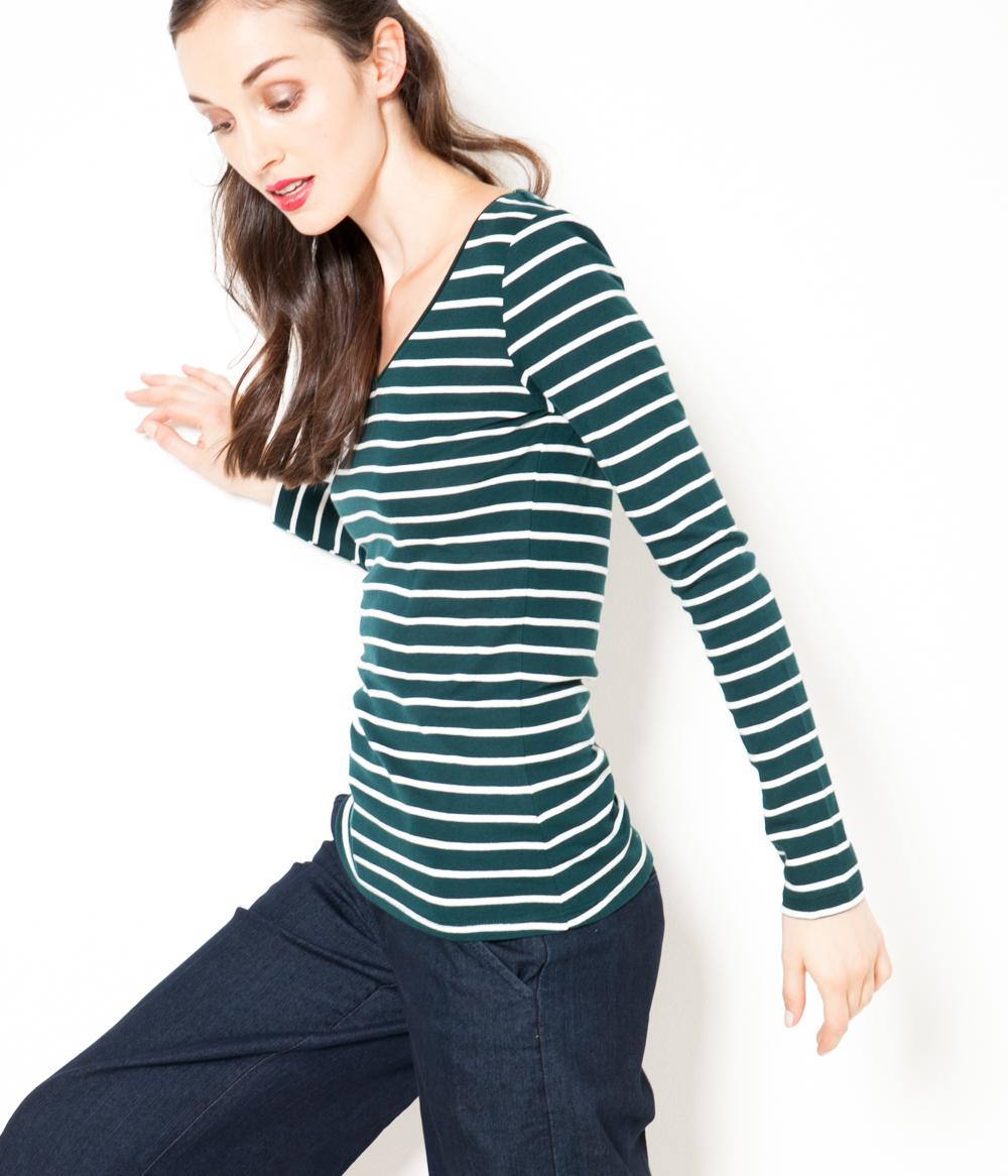 Femme shirt Manches Longues Camaïeu T v8NwOm0n