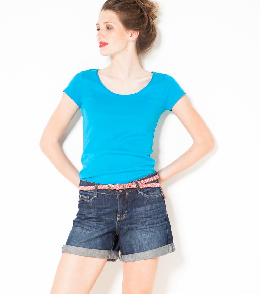 Col Rond Tshirt En Camaïeu Coton Femme MUpSqzV