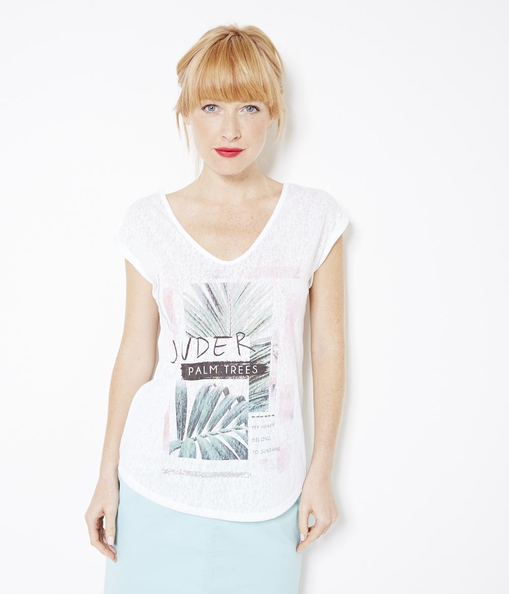 shirt T Tropiques Paillettes Camaïeu Et Femme 1lKcTJF