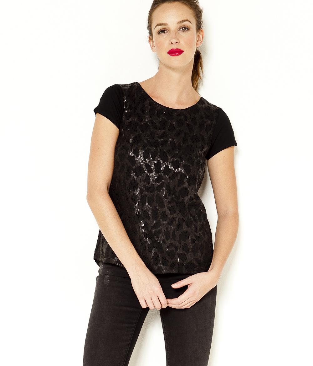 Camaïeu shirt Sequins À Femme T NkX8nOPZ0w