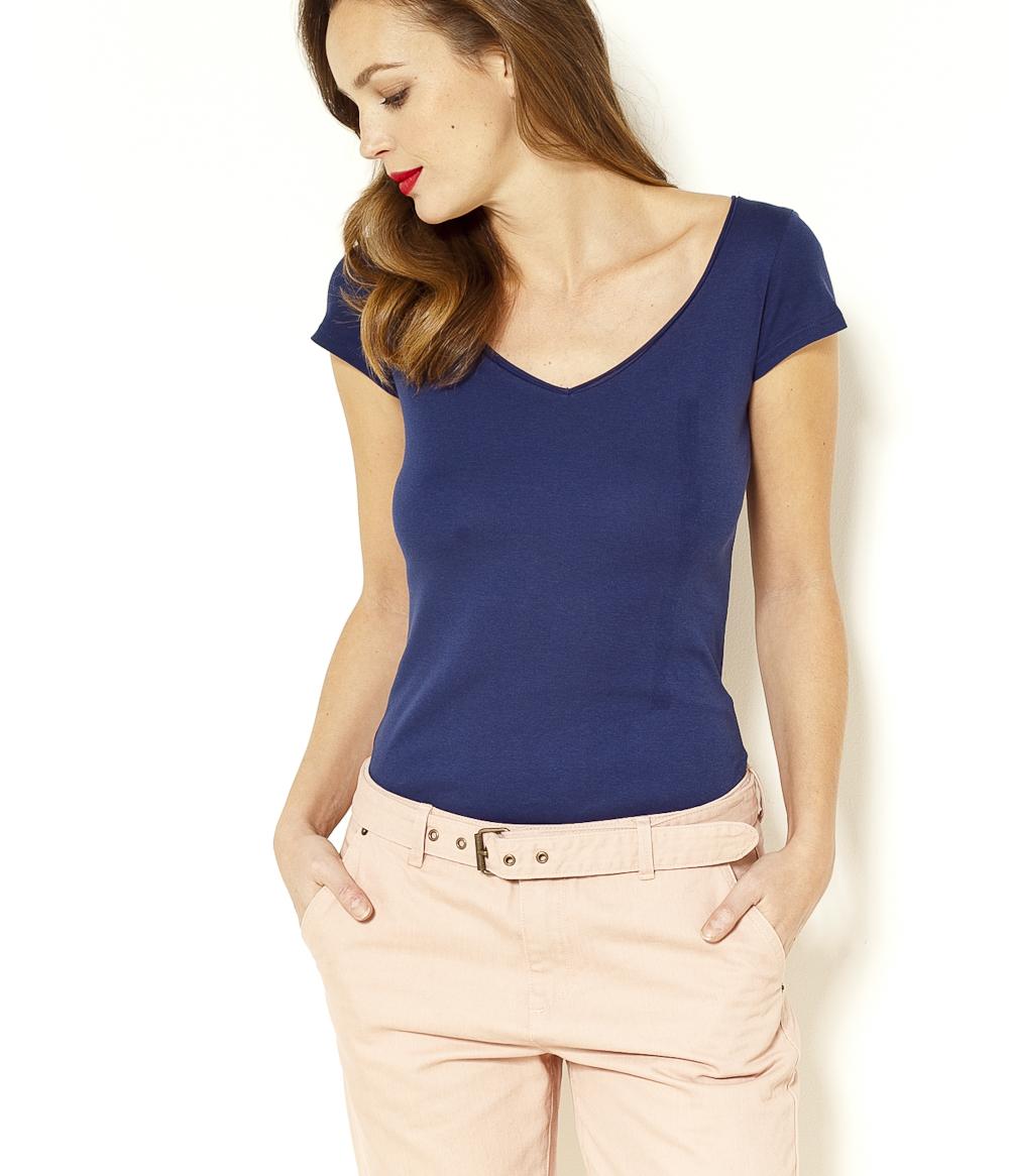 Camaïeu V Femme Manches T Col shirt Courtes PiZkuX