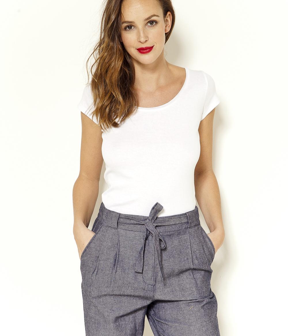 Roulottée shirt Encolure Femme T Camaïeu dCeBorx