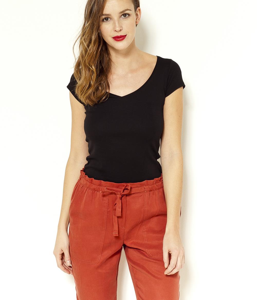 T shirt Femme Courtes Col Camaïeu V Manches tsrQdhC