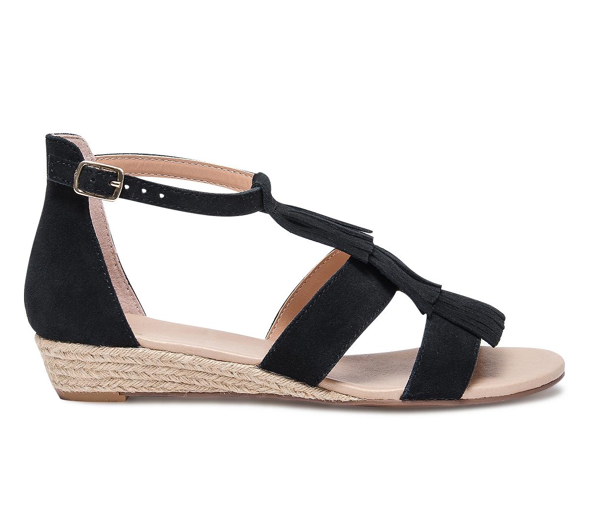 Noire Compensée Sandale Eram Franges À fb67gvYy