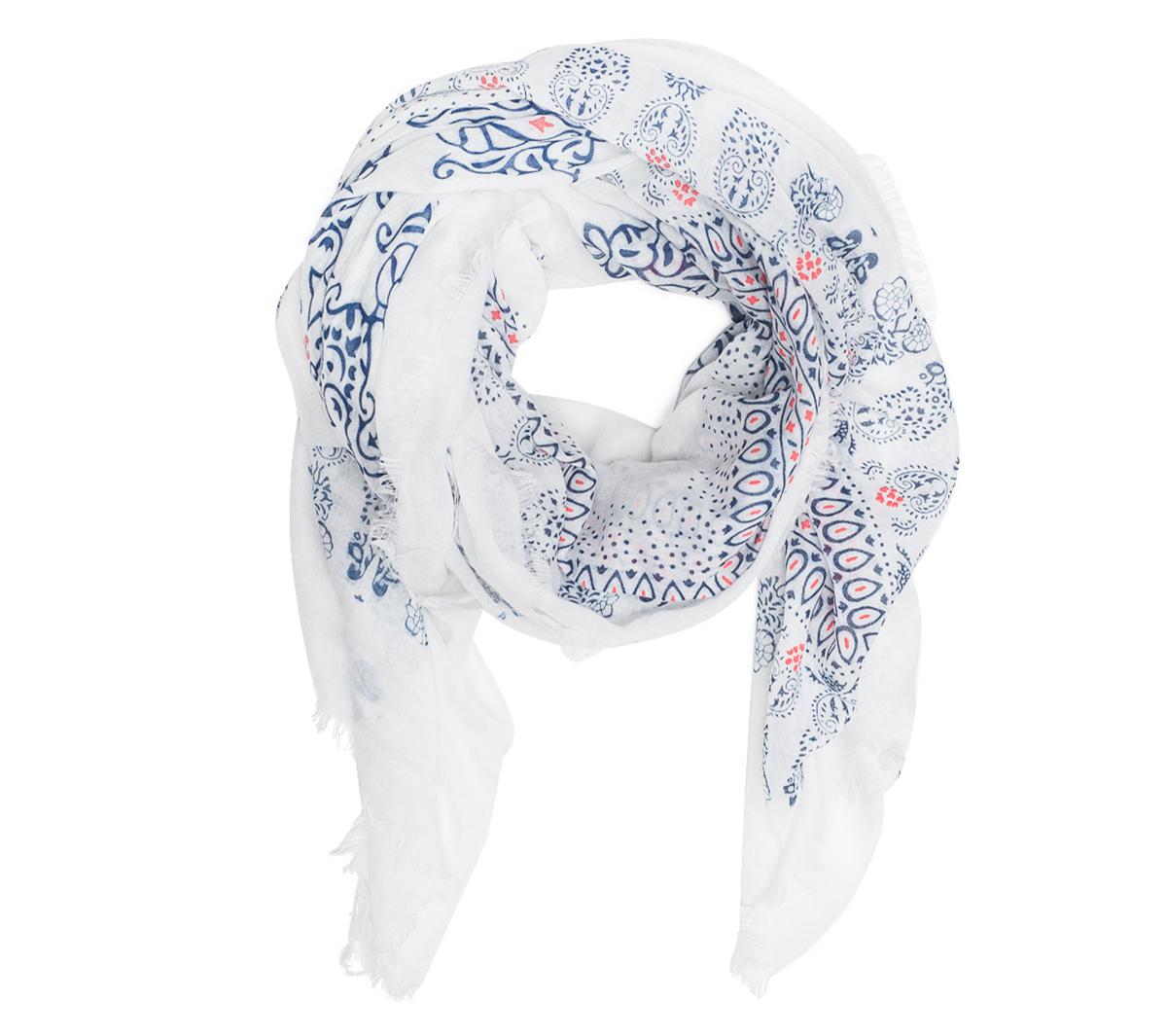 Et Eram Foulard Blanc Mandala Motif Bleu dCoeWrxB