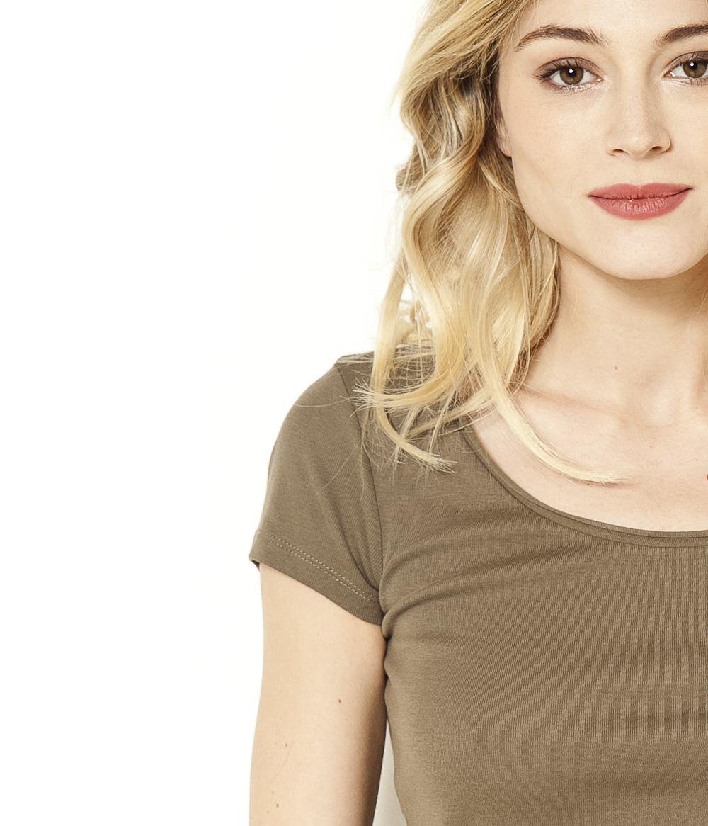 T Femme shirt Encolure Camaïeu Roulottée 29EWDeHIY