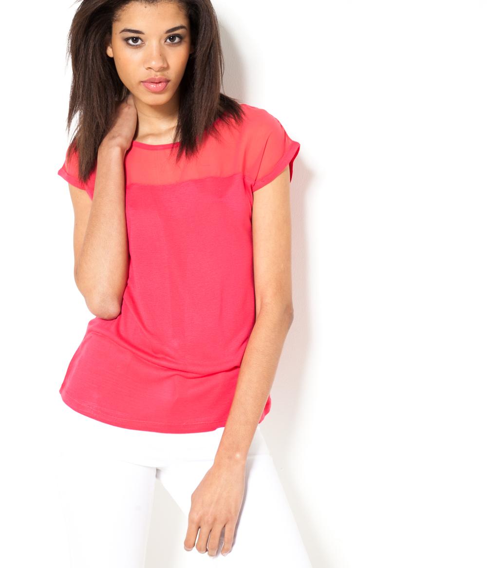 matière Bi T shirt Camaïeu Femme EHIYWD9e2b