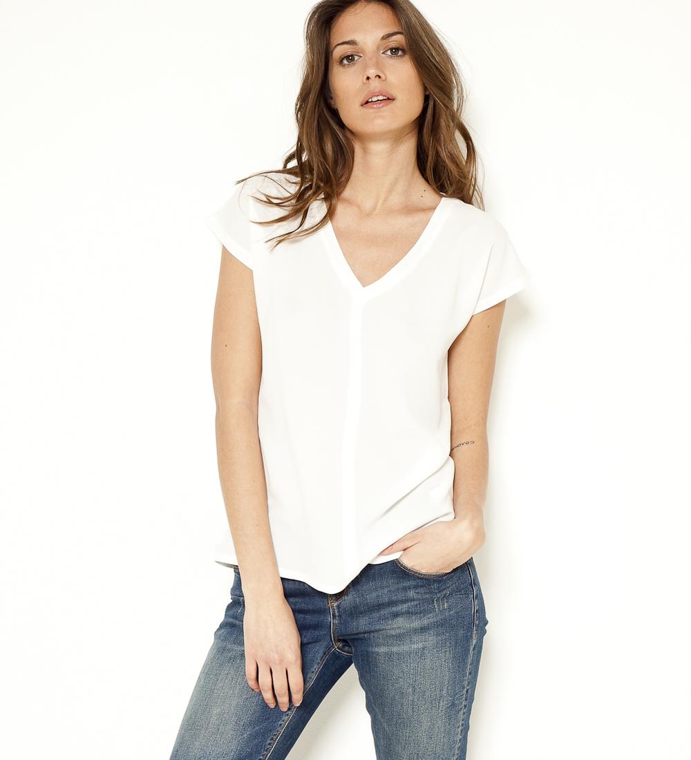 Femme matières Camaïeu shirt T Bi PkZwOiuTlX