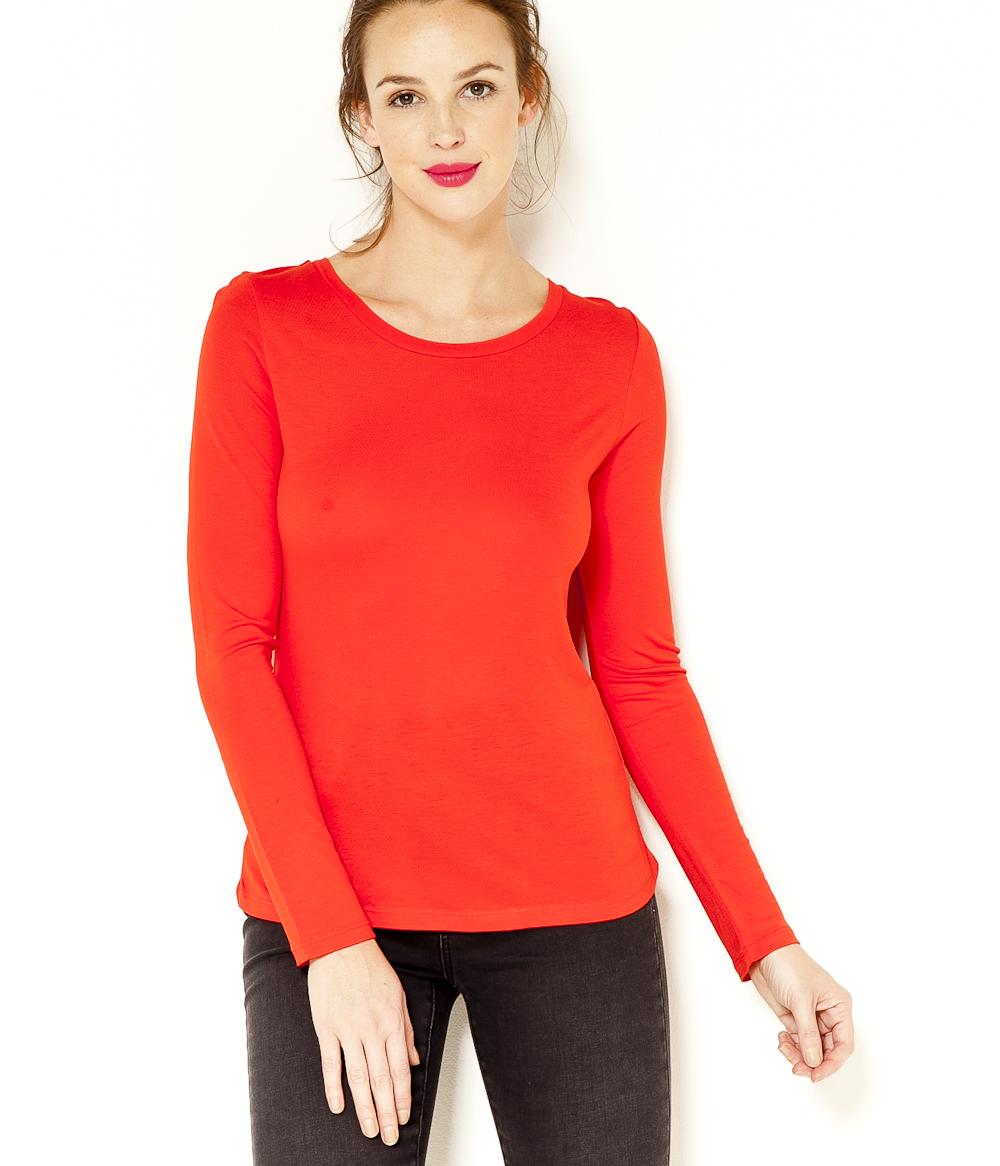 T Longues Camaïeu shirt Femme Basique Manches rBQoedCxW