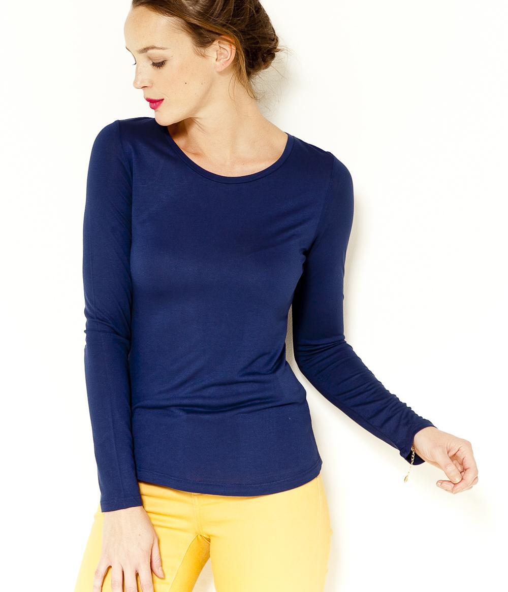 Camaïeu shirt Femme Longues Basique Manches T kPiuXZ