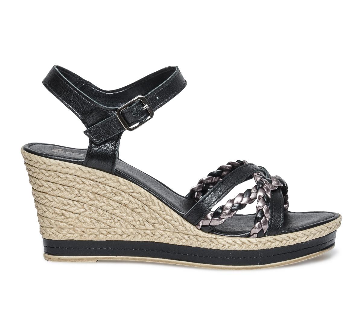 Sandale Noire Tresses Avec Compensée Eram R354jqcLA