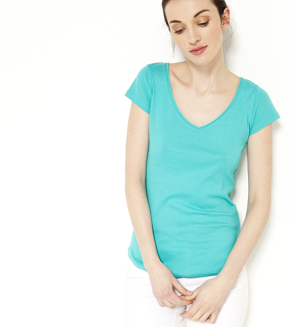 T Femme Manches Courtes Col V Camaïeu shirt l1cuTFKJ3