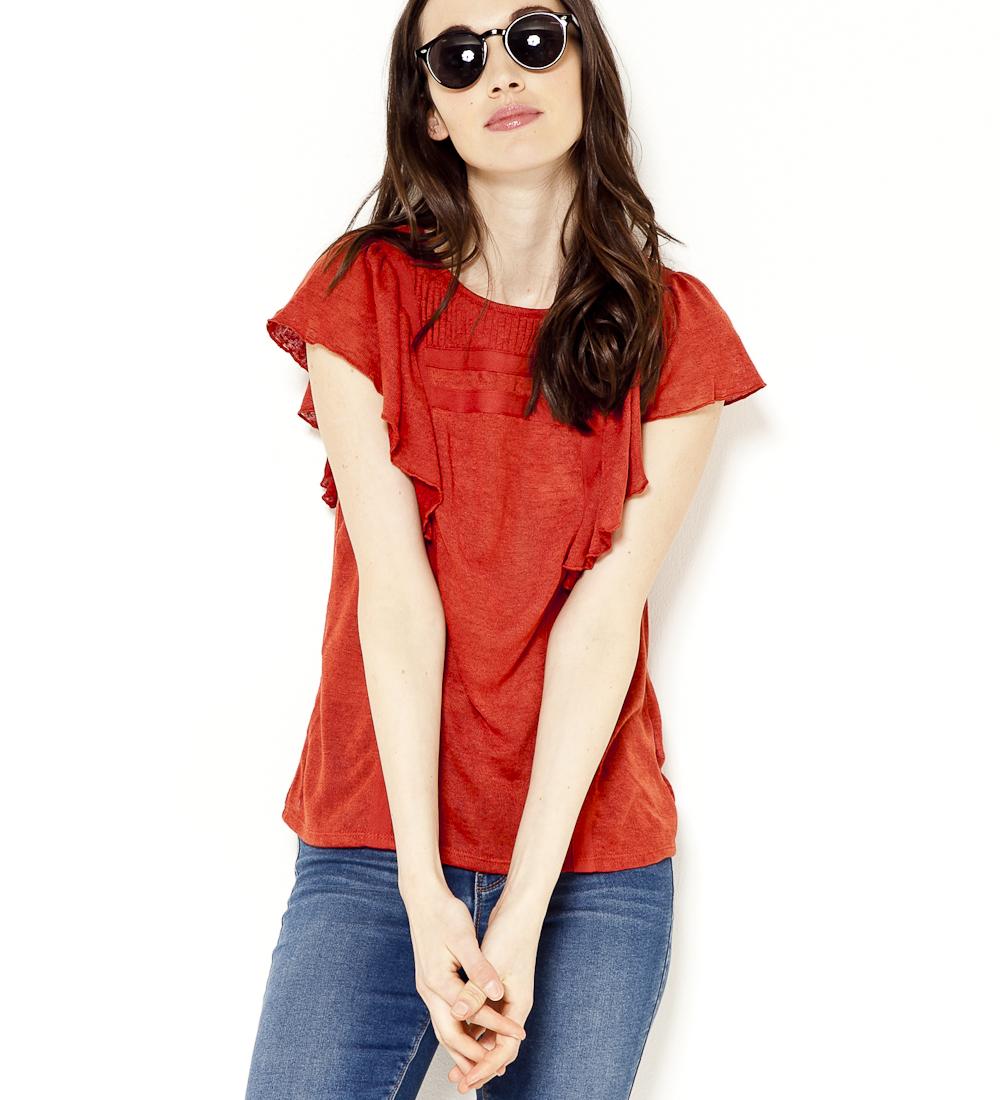 Effet Plis Femme Lin shirt Et Camaïeu T Volants 7fvY6bgy