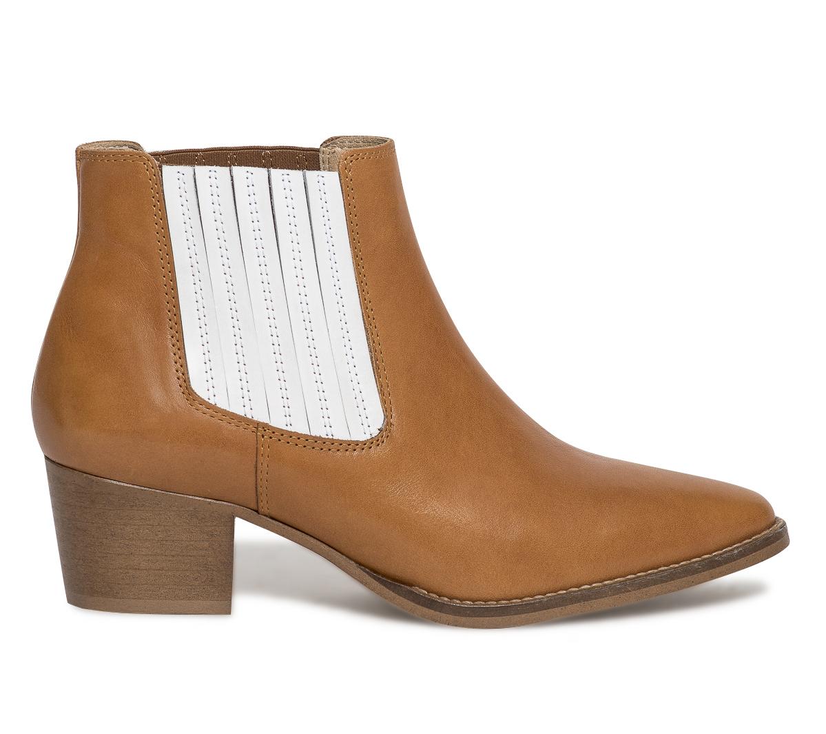 Eram À Cuir Cognac Blancs Boots Piqués Élastiques TFKJl1c
