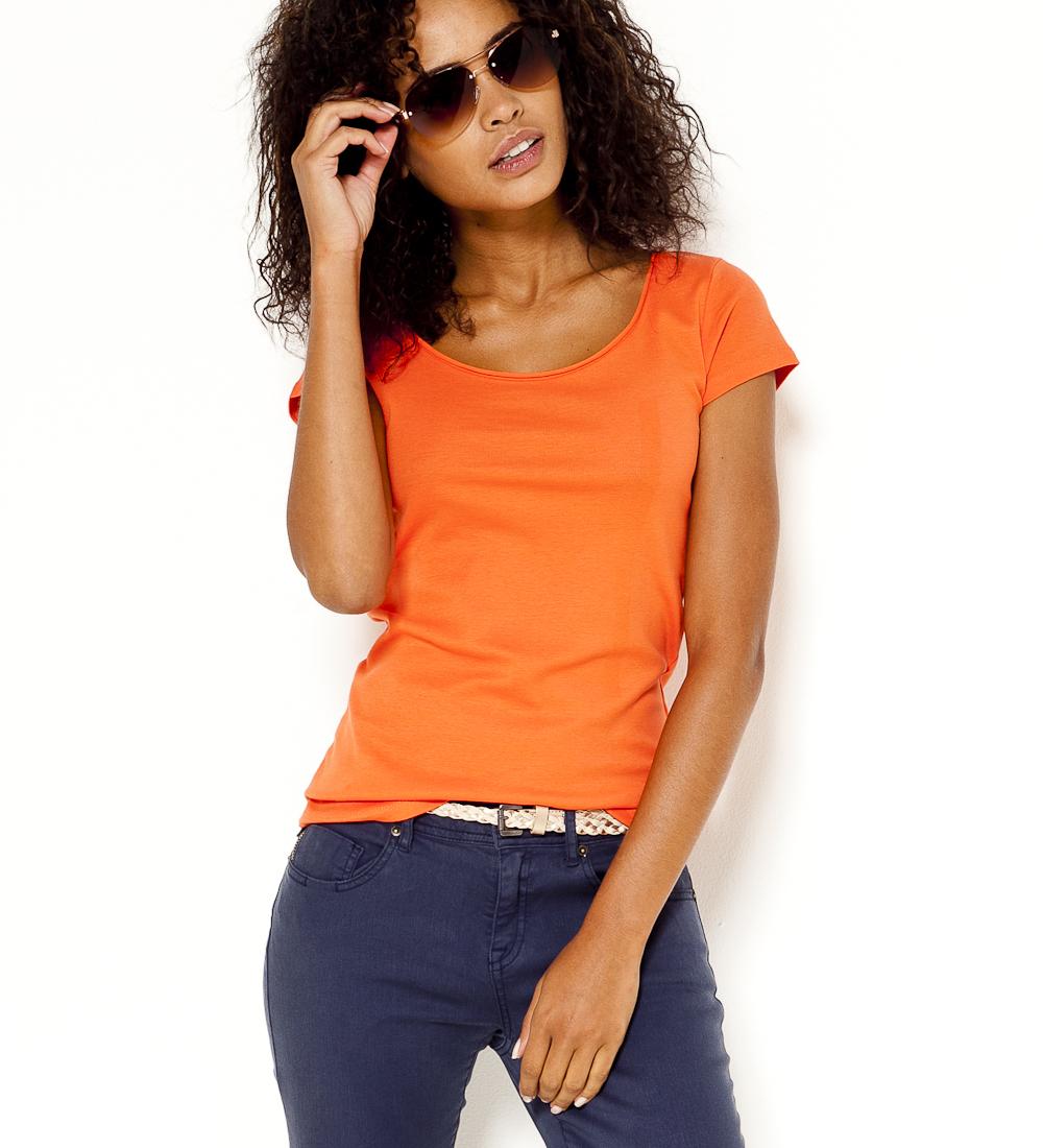 T Roulottée shirt Encolure Femme Camaïeu l13FKuJTc5