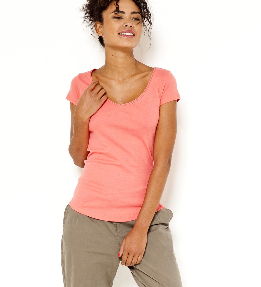 Femme shirt Col Camaïeu T Manches V Courtes XuZOPiTk