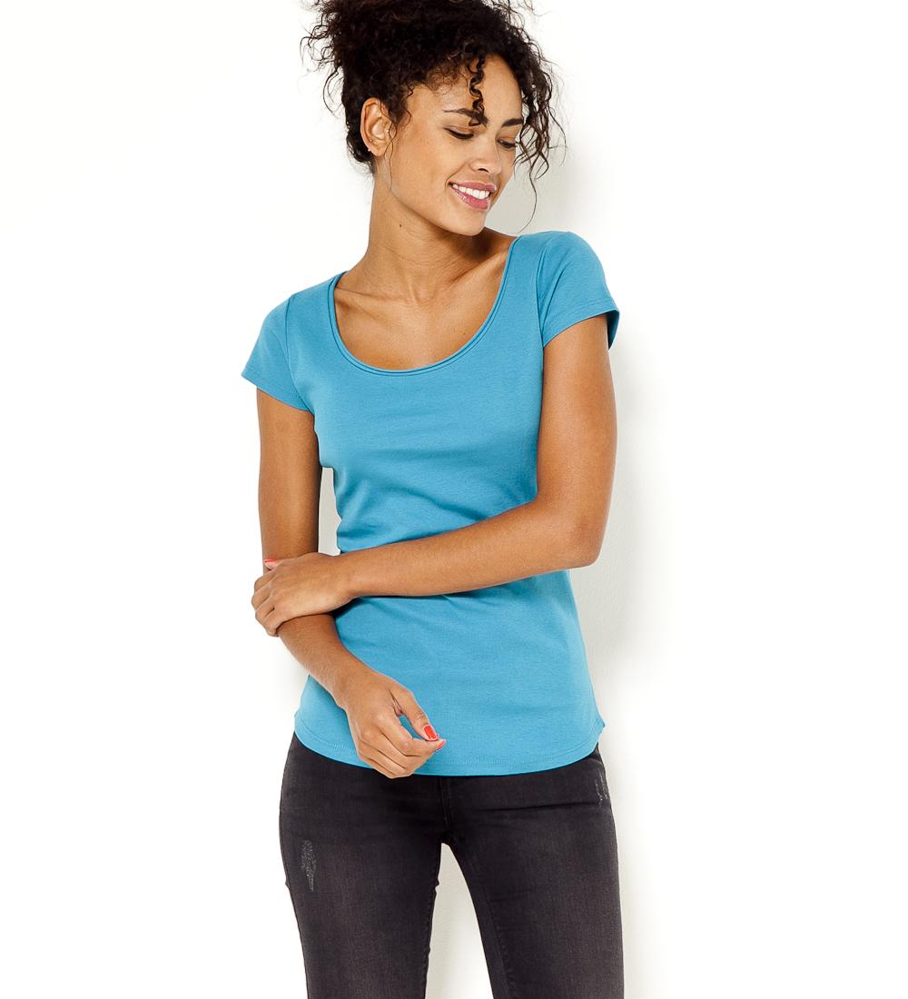 Roulottée Encolure Femme T shirt Camaïeu ZOPkuTXi